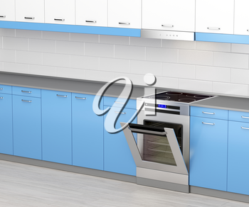 Electric cooker with induction cooktop and range hood in the kitchen
