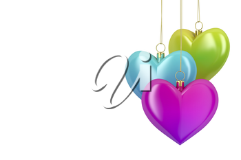 Colorful heart shaped Christmas ornaments on white background