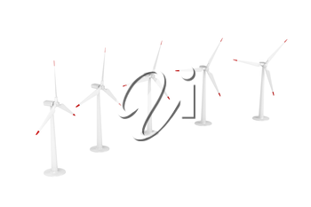 Group of wind turbines generating electricity on white background
