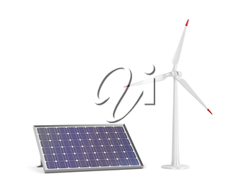 Solar panel and wind turbine on white background