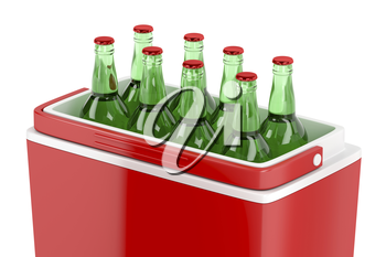 Red cooling box with beer bottles, 3D illustration
