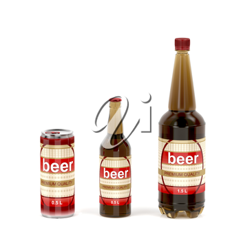 Different types of beer containers on white background