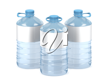 Big plastic water bottles with blank labels on white background