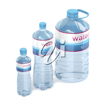 Plastic water bottles with different sizes on white background