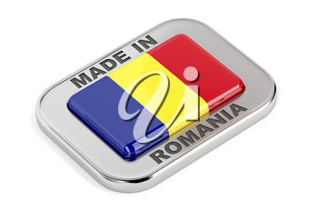 Made in Romania, shiny badge with Romanian flag