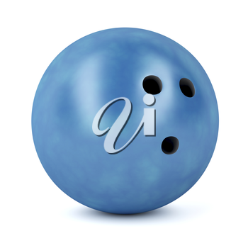 Blue bowling ball on white background