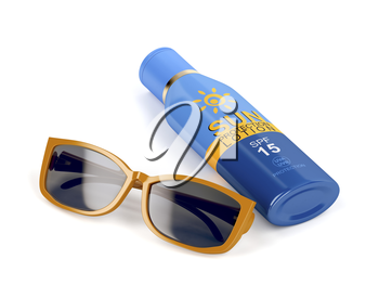 Female sunglasses and sunscreen bottle on white background