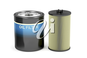 Different types of automotive oil filters on white background