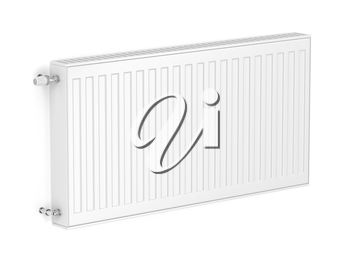White heating radiator attached on wall