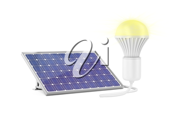 Generating electricity with solar panel for the light bulb to glow