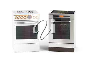 Electric cookers on white background