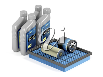 Set of automotive filters and bottles of motor oil