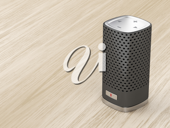 Speaker with integrated virtual assistant on wood background