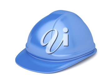 Blue safety helmet on white background