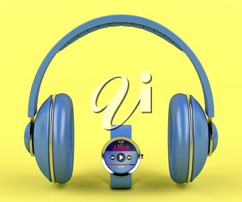 Over-ear headphones and smart watch on yellow background