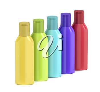 Group of plastic bottles for cosmetic liquids with different colors