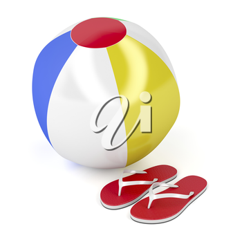 Beach ball and flip-flops on white background
