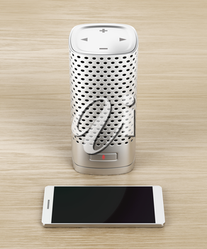 Silver smart speaker and smartphone on wood background