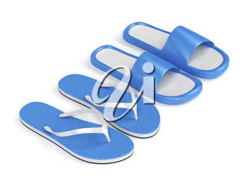 Flip flops and rubber slides on white background