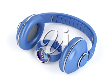 Smart watch and wireless over-ear headphones on white background
