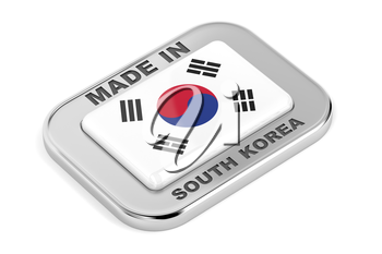 Made in South Korea, silver badge on white background