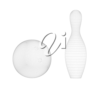 3D wire-frame model of bowling ball and pin on white background