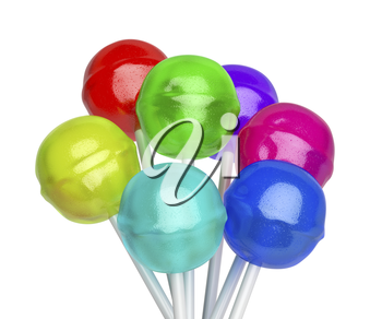 Group of lollipops with different colors and flavors, isolated on white background