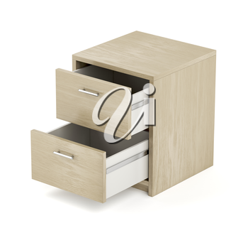 Nightstand with two opened drawers on white background