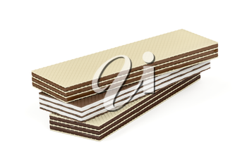 Wafers with different flavors on white background