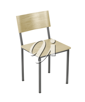 Wooden chair on white background, 3D illustration