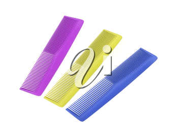 Three plastic hair combs with different colors