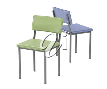Two dining chairs with different colors on white background