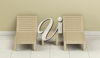 Wooden sun loungers and table in the spa center, front view