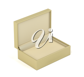 Empty beige box for jewelry or gifts on white background