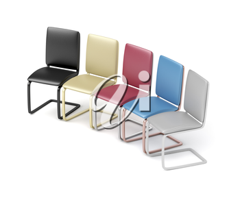 Colorful dining chairs on white background