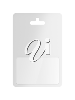 Front view of white blank gift card in blister packaging, isolated on white background