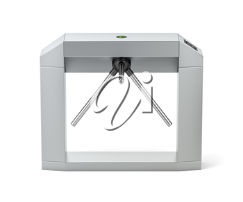 Side view of electronic turnstile on white background
