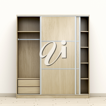 Front view of modern wood wardrobe in the room