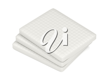 Stack of mattresses on white background