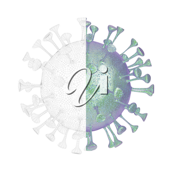 3D render of virus with visible wire-frame