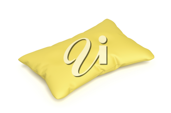 Comfortable yellow pillow isolated on white background