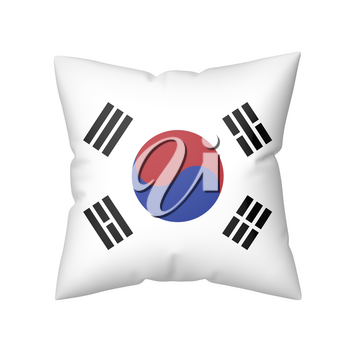 Pillow with the flag of South Korea, isolated on white background