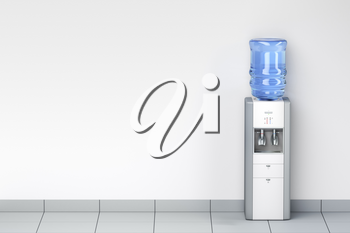 Water dispenser in the room, front view