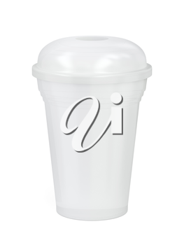 White plastic cup for smoothie or frappe on white background