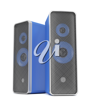 Stereo speakers on white background
