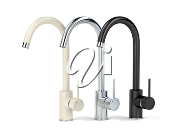 Modern kitchen faucets with different colors and materials. Beige, silver and black.