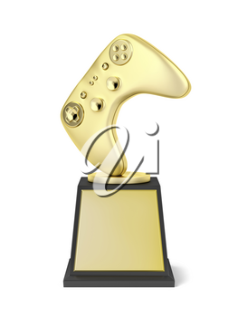 Gold video gaming trophy on white background, front view