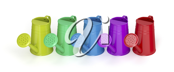 Row with colorful watering cans on white background