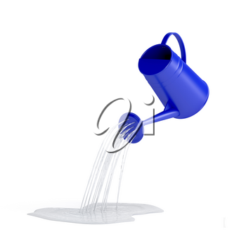 Pouring water with watering can on white background