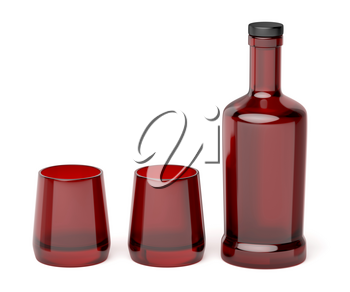 Red glass bottle and two empty glasses on white background